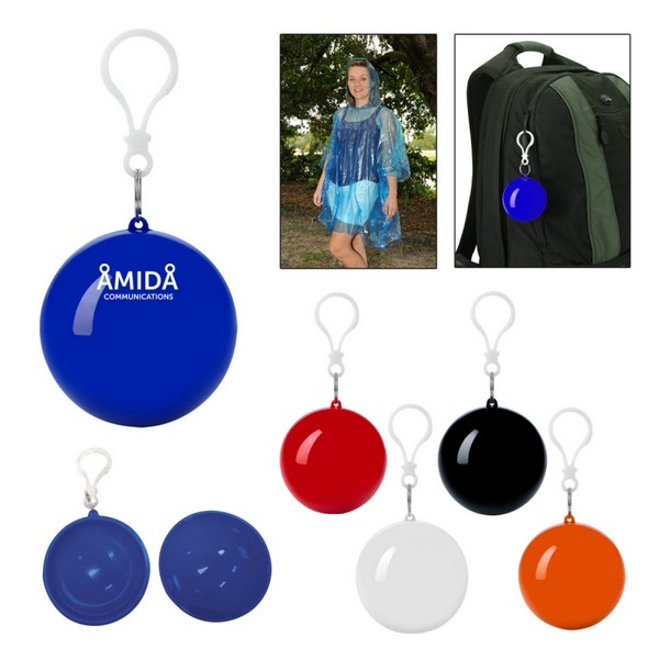 HH7741 PONCHO Ball Key Chain With Custom Imprint