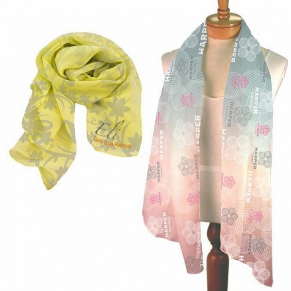 AH26674 large Chiffon SCARF With Full Color Imprint