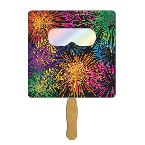 FSF60 Square Colorful FIREWORKS Hand Fan With Custom Imprint