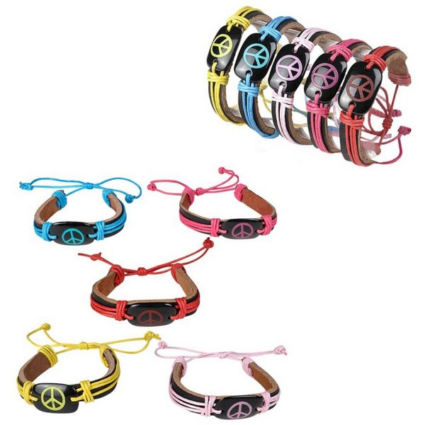 JR54035 LEATHER Strap Bracelet with Neon Peace Sign
