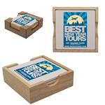 HN1639 Square Absorbent Stone 4pc Coaster Set With Wood Holder And Custom Imprint