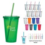 DH5869 16 Oz. Double Wall Acrylic Tumbler With Straw And Custom Imprint