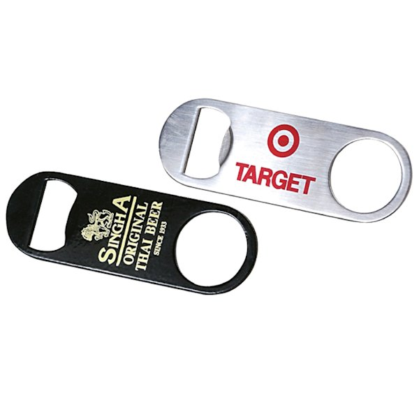 B-OPEN10 Short Paddle Style Stainless Steel Bottle Opener with custom imprint