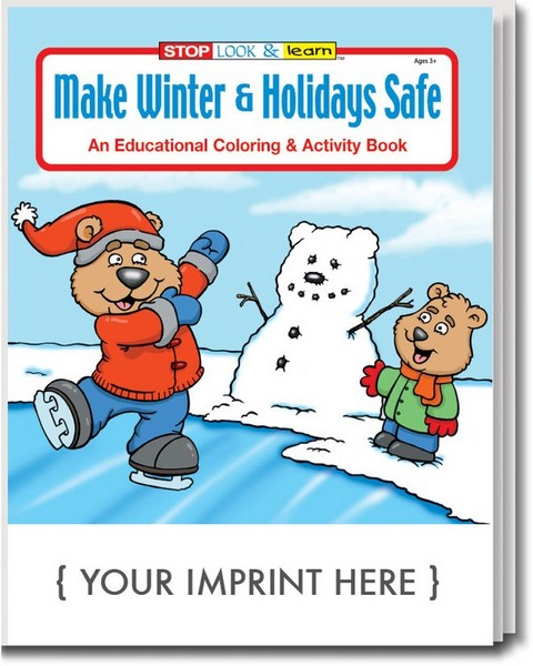 CS0510 Make Winter & HOLIDAYs Safe Coloring and Activity Book with Cus
