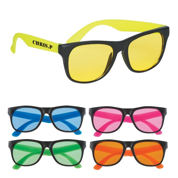 GH4001 Tinted Lense Rubberized SUNGLASSES With Custom Imprint