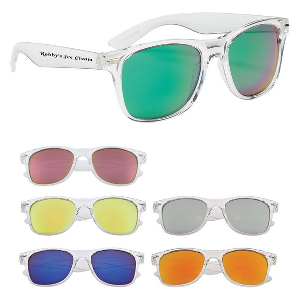 GH6207 Crystalline Mirrored Malibu SUNGLASSES With Custom Imprint
