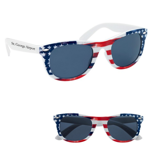 GH6214 Patriotic Malibu SUNGLASSES With Custom Imprint