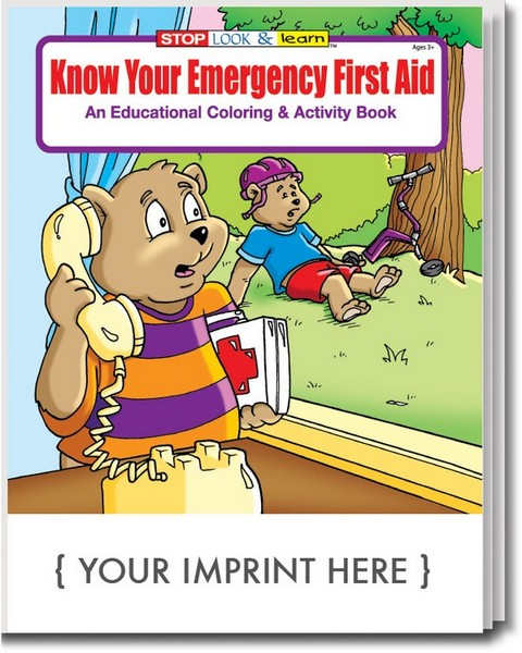 CS0350 Know Your Emergency First Aid Coloring And Activity Book With Custom Imprint