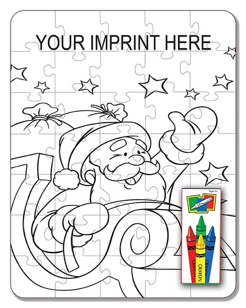 ZCS4077 Santa 35pc Coloring Puzzle Set With Custom Imprint