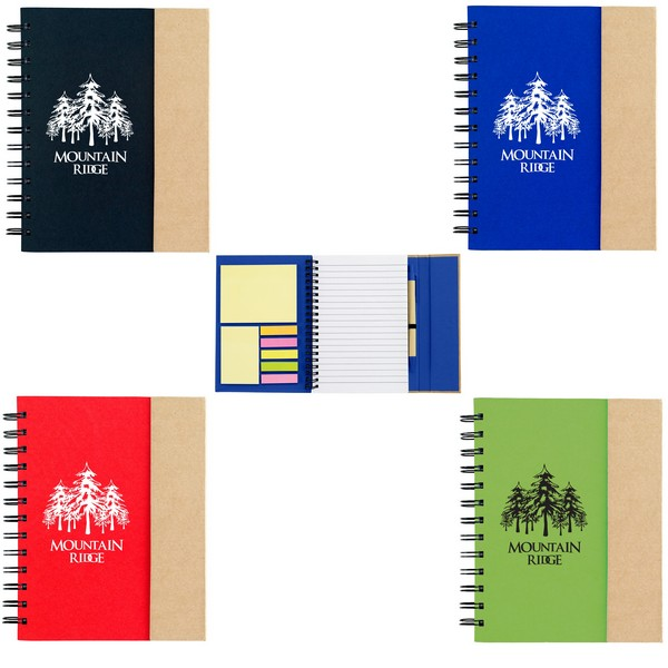 SH6107 Small Spiral Notebook With Sticky Notes And Flags And Custom Imprint