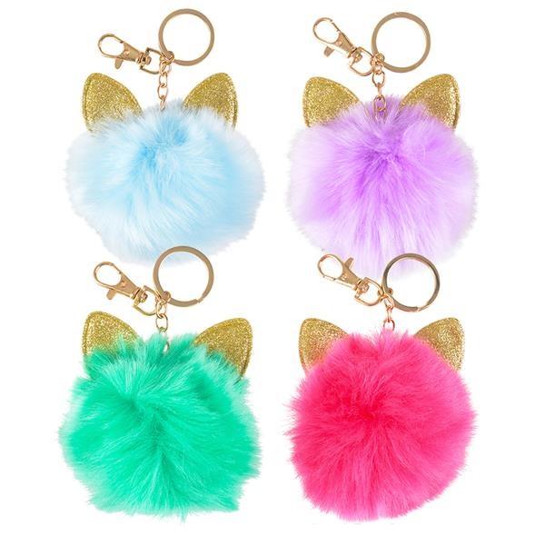 KR78762 Furry Cat Ear Pom Pom Keychain 68d17b561
