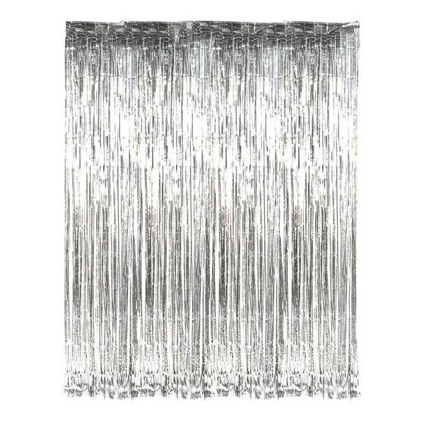 DR69282 Silver Foil Fringe Curtain